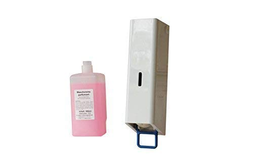Distributeur de Savon Plastique Blanc Inclus 1 Bouteille Seifecreme 500 ML Rose