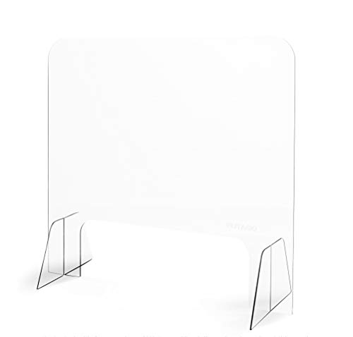 Plexiglass Shield Counter Acrylic Sneeze Guard, Sales Reception Retail and Office Desk Protective Barrier for Employees Workers Customers, Portable Clear Shield for Counters and Desks, 24'H x 26'W