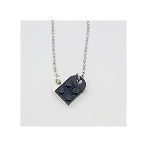 RXDZ Lindo Amor corazón ladrillo Colgante Collar para Parejas Amistad Mujeres Lego Elementos de San Valentín Regalo de joyería (Color : Black White)