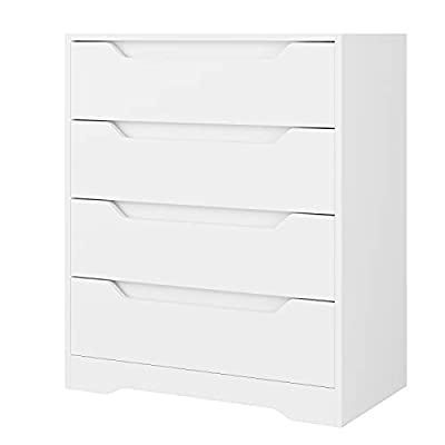Modern 4 Drawer Dresser, Wood Chest of Drawers with Storage, Clothing Organizer with Cut-Out Handle, Storage Cabinet, Nightstand for Living Room, Bedroom, Hallway, White