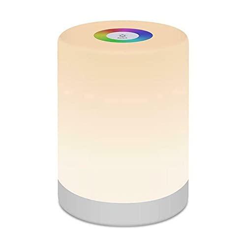 Lámpara portátil de cabecera con control táctil LED inteligente recargable, luz de noche, cambio de color ajustable RGB
