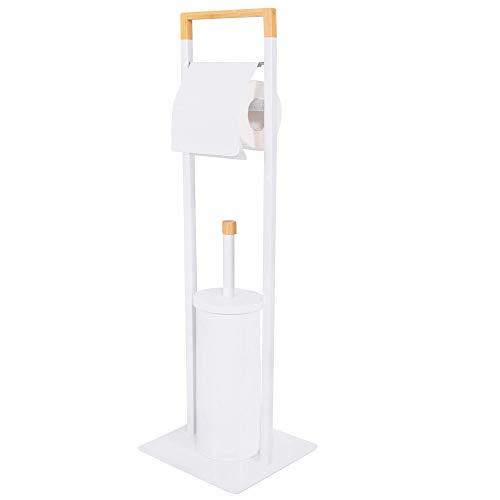 SPRINGOS Stand WC-Garnitur, Bambus, Metall, Ausmaß: 74x19x19 cm, Ständer mit integriertem Toilettenpapierhalter, freistehend, WC-Bürstenhalter (Weiß)