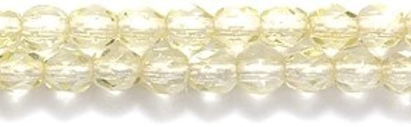 Preciosa Czech 3-mm Fire-Polished Glass Bead, Faceted Round, Transparent Light Jonquil Coat, 200/pack
