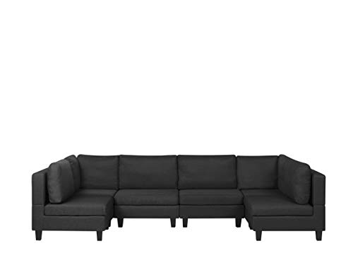 Beliani Fevik - Sofá modular panorámico de 6 plazas, de tela, color negro