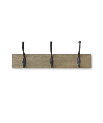 AmazonBasics - Perchero de pared, 3 ganchos estándar, Madera noble