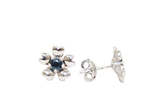 PH - Pendientes de tuerca hechos a mano de plata de ley 925 con zafiro azul natural, piedras preciosas – X