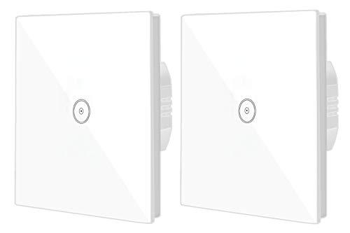 Interruptor de pared WiFi con pantalla de cristal, interruptor táctil, mando a distancia, función de temporizador, compatible con Alexa (1 marcha - 2 unidades)