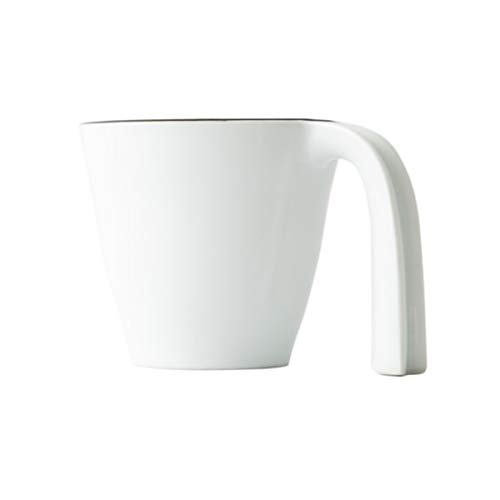 Ergonomic Mug - White, Stackable, Japanese Pottery, Hasami Ware, Porcelain, Easy to Hold