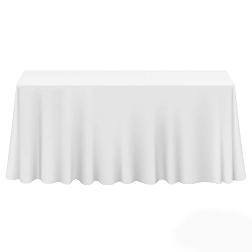 "Lann's Linens - 10 Premium 90"" x 156"" Tablecloths for Wedding/Banquet/Restaurant - Rectangular Polyester Fabric Table Cloths - White"