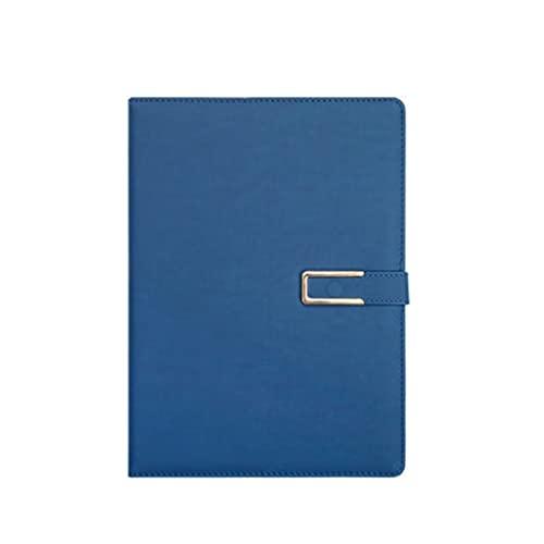 YHYH computadora portátil Cuaderno B5 Diario De Negocios De Cuero Suave Que Aprende Cuaderno De Engrosamiento con Diseño De Hebilla De Hierro Cuaderno de Escritorio (Color : Blue)