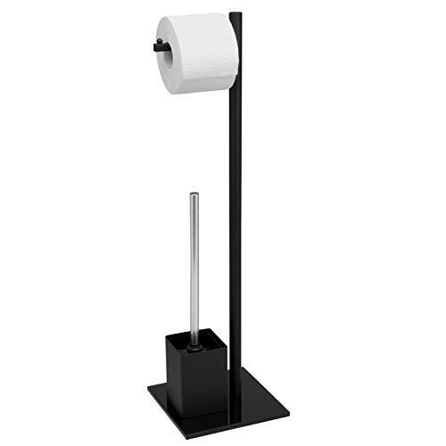 bremermann WC-Ständer, WC-Garnitur, WC-Bürste, Edelstahl rostfrei, Sicherheitsglas (Gestell schwarz)