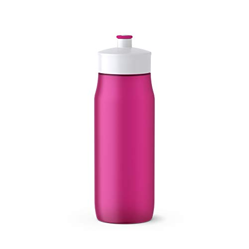 Emsa 518085 Squeeze Sport-Trinkflasche, Fassungsvermögen: 0,6 Liter, ohne BPA, spülmaschinengeeignet, robust und stylisch, pink/weiß