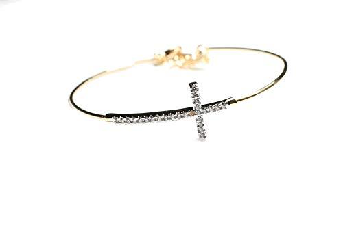 Deal Fashionista Cross Expandable Bangle Bracelet, Christian Jewelry, Religious Bracelet, Religious Gift