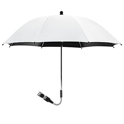 Trafagala ベビーカー傘 傘スタンド UVプロテクション 傘固定 自転車傘立て 8本絶縁骨 防錆 360°回転 熱中症対策 完全遮光 晴雨兼用(ホワイト,75x80cm)