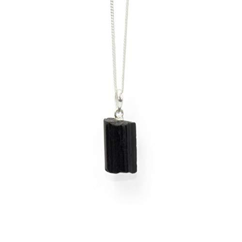 Züssi Colgante de turmalina negra Dark-Glow – Joyería de alta calidad con montura de plata de ley 925 – Auténtica piedra preciosa para collar