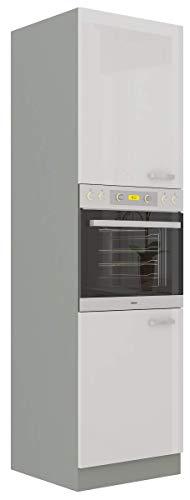 Küchen Hochschrank 60 Bianca Weiß Hochglanz + Grau Küchenzeile Küchenblock