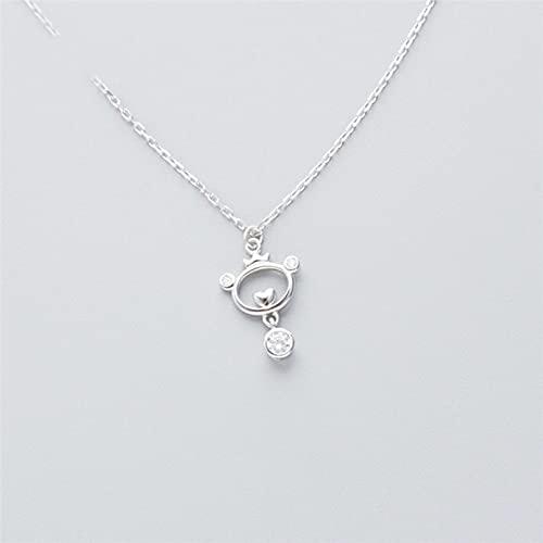 QiuYueShangMao Collar Colgante Collar con Forma de Osito pequeño Simple y Colgante de clavícula Novia, Esposa, Hija, Madre