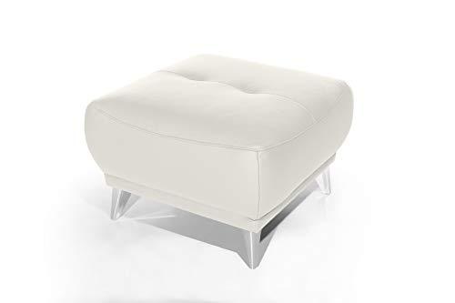 Mivano Hocker Frisco / Polsterhocker in Lederoptik passend zum Sessel, 2er und 3er Sofa Frisco / Sofagarnitur / 65 x 46 x 65 / Weiß