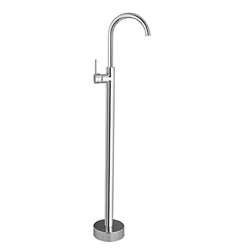 Polish Chrome Freestanding Tub Filler Floor Mounted Single Handle Bathtub Faucet Single Lever Brass Mixer Tap