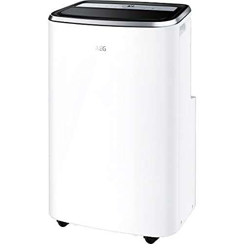 AEG Chillflex Pro AXP35U538CW mobiles Klimagerät (LED Display, Touch-Buttons, Fernbedienung, 40-50m², Kühlfunktion, Ventilator, Entfeuchtungsfunktion, Automatik, weiß/silber/schwarz)
