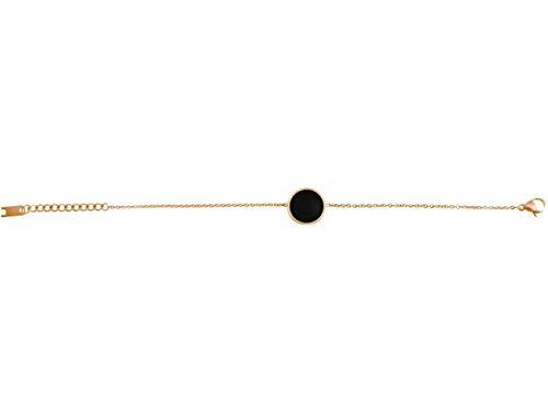 Gemshine Damenarmband mit schwarzen Onyx Edelstein. Längenverstellbare Armkette aus Silber, vergoldet, rose. Hochwertig verarbeitet, im eldlen Etui, Metall Farbe:Silber vergoldet