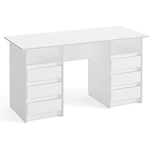 KOMTO Oslo - Escritorio con cajones - Mesa de oficina, mesa de trabajo, mesa para niños, con espacio de almacenamiento, moderno, color blanco, 140 x 60 x 74 cm