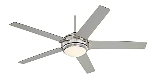 """52"""" Casa Probe III Modern Contemporary Ceiling Fan with Light LED Dimmable Wall Control Brushed Nickel Reversible Blades for House Bedroom Living Room Home Kitchen Dining Office - Casa Vieja"""