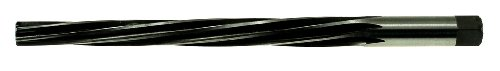 Drillco 4550E Series High-Speed Steel Taper Pin Reamer, Spiral Flute, Round with Square End Shank, Uncoated (Bright)/Black Oxide Finish, 2/0 Size, 2-9/16