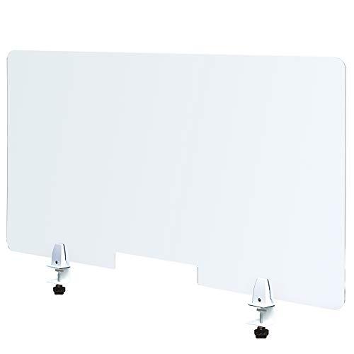 Plaque Plexiglass Protection Bureau Transparent- 120x60cm, 4mm avec 2 pinces étaux, Ouverture, Protection Plexiglass Comptoir, Accueuil