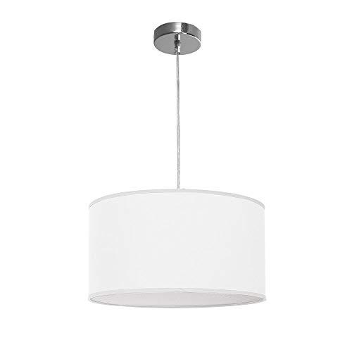 TODOLAMPARA - Lampara colgante de tela modelo Nicole color blanco 2 bombillas E27 40cm diámetro altura regulable.