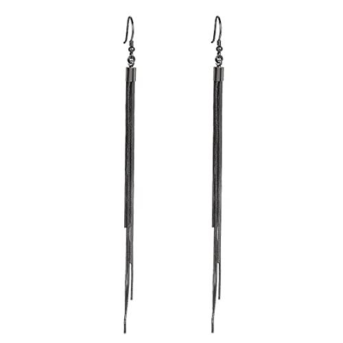 Pendientes largos vintage creativos con borla de color plateado, joyería de moda para mujer el mejor regalo (color metálico: negro)