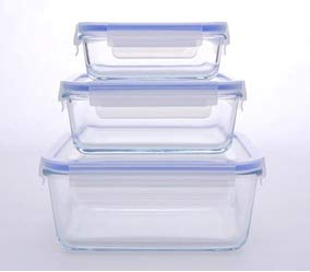 Eurostock - Contenitori in Vetro per Alimenti, Resistenti alle Alte Temperature, Vetro, 3 Glasbehälter Set 0,4L+0,9L+1,9L Modell 4007