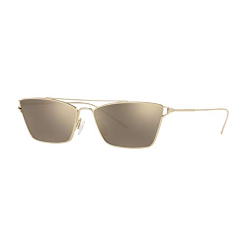 Oliver Peoples Evey Taupe Flash rechthoekige dames zonnebril Ov1244S 50356G (59 goud)