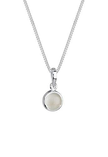 Elli Halskette Damen mit Mondstein Anhänger in 925 Sterling Silber