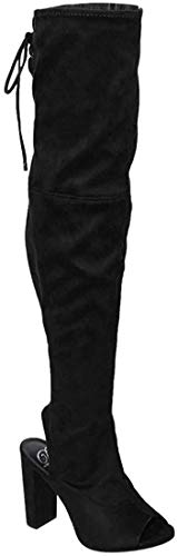 Delicious Women's Stretchy Open Toe Heel Boot Black 8