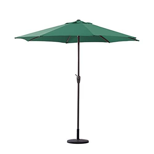ZHIFENGLIU Sombrilla Aluminio, 270cm Impermeable ProteccióN Solar Patio Parasol con Manivela, Sombrilla Exterior para JardíN Terraza Playa Café,Verde