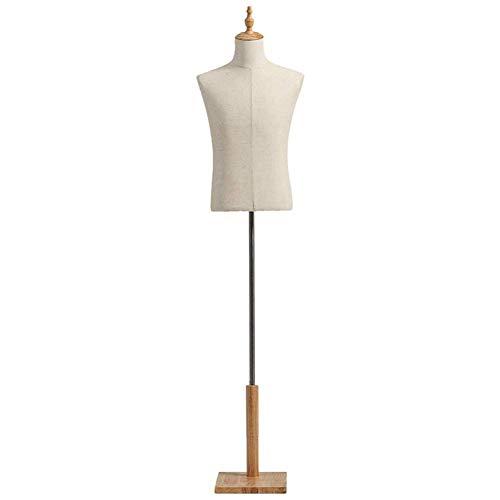 MWPO Torso con Forma de Vestido Masculino con Soporte de Madera, maniquí Adulto, Camiseta Masculina, Formas de Busto Corporal (Color: Color Madera, tamaño: Mediano)