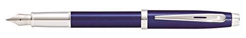 Sheaffer 100 - Pluma estilográfica (punta M, acabado cromado), color azul