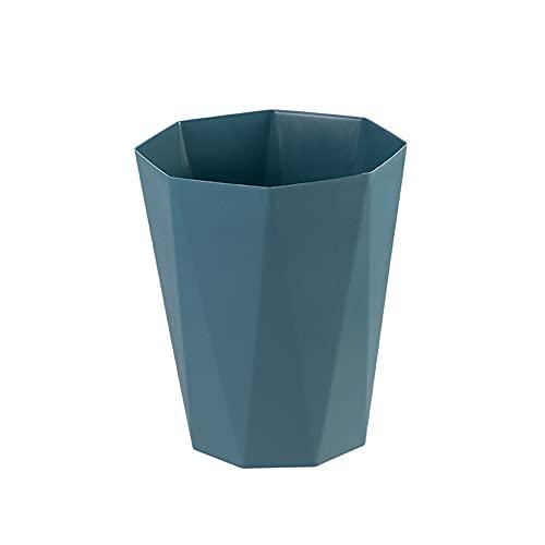 YIXINYOUPIN Papeleras de plástico para el hogar, sin tapa, color sólido, para oficina, para dormitorio, cocina, sala de estar, color azul