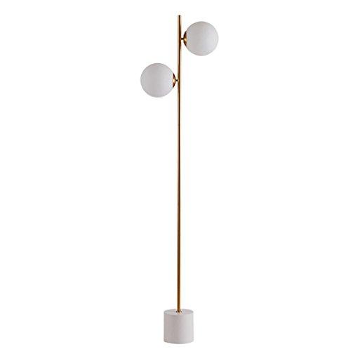 Lampadaire de haute qualité Lumière moderne de plancher d'abat-jour de verre moderne, lumière de plancher en métal de 2 pour la salle de lecture de chambre à coucher d'apprentissage de lumière, H167CM