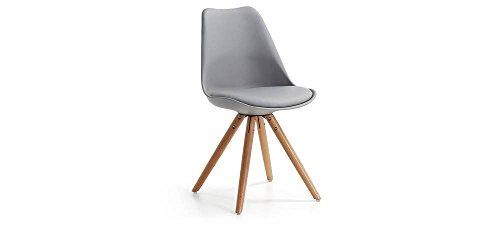LARS-La Forma de silla polipropileno, color gris con base tipo trípode de haya natural barnizado, lote de 4