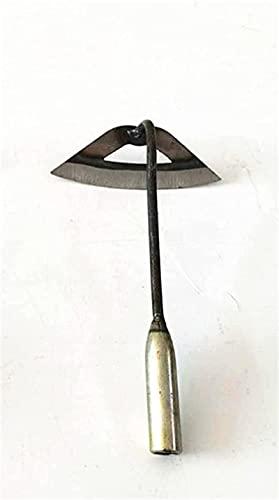 Azada de acero endurecido, azada tradicional para jardín, para plantar, rastrillo para malas hierbas con mango largo, herramienta de corte manual, azada afilada (30 cm)