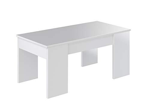 Movian Aggol Modern - Mesa de centro elevable, 50 x 100 x 44 cm (blanco)