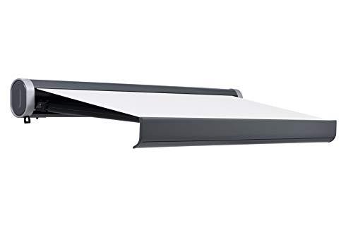 Jet-line Vollkassettenmarkise 5x3m Sunlive anthrazit/beige mit Motor und Fernbedienung Sonnenschutz inklusive Handkurbel Verschiedene Größen