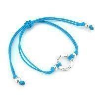 Joolz Friendship Bracelet 925 Silver with 'Angel' inscribed Light Blue Cotton Bracelet