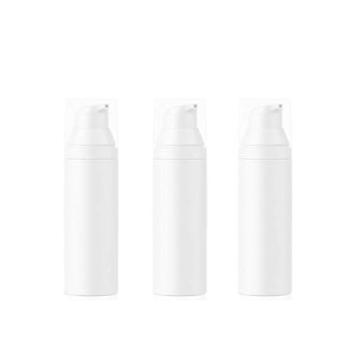 bubussv (3 Stück) 50ml Leer weiß Mini tragbar nachfüllbar Kunststoff Airless Vakuum Pumpe Flasche Reisen Behälter Creme Lotion Foundation Dispenser Vial Container Topf Gläser Behälter