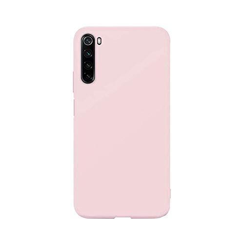 cuzz Funda para Xiaomi Redmi Note 8+{Protector de Pantalla de Vidrio Templado} Carcasa Silicona Suave Gel Rasguño y Resistente Teléfono Móvil Cover-Rosa Claro