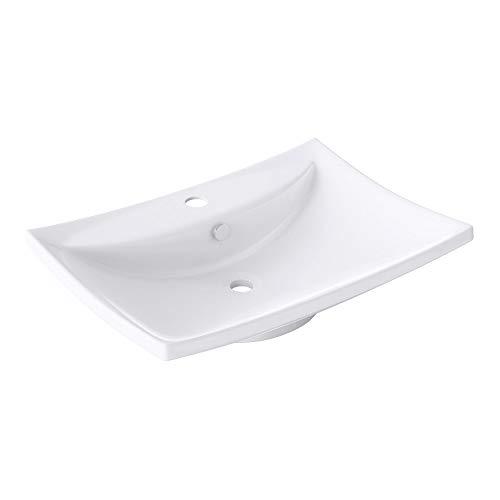 BTH: 60x44x16cm Hängewaschbecken inkl. Nano-Versiegelung/Abperl- / Lotus-Effekt aus Keramik Brüssel709 weiß