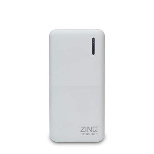 Zinq 20000mAh Li-Polymer Compact Power Bank with 12W Fast Charge Type C & Micro USB Input ZQ20KPB (White)