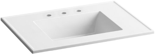 KOHLER K-2779-8-G81 Ceramic/Impressions 31 in. Rectangular Vanity-Top Bathroom Sink with 8 in. Widespread Faucet Holes, White Impressions